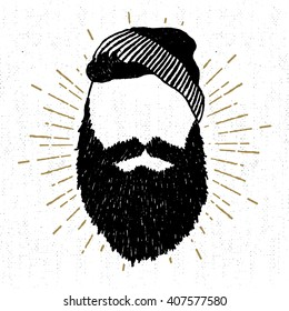 Hand drawn vintage icon with a textured face with beard vector illustration.