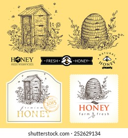 Hand drawn vintage illustration for honey logo products. Vector