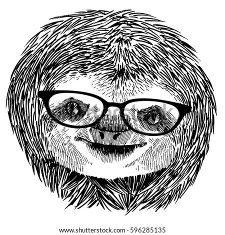 hand drawn vintage illustration sloth sunglasses stock vector