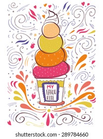 Hand drawn vintage label with ice cream and lettering. This illustration can be used as a print on T-shirts and bags or as a poster.