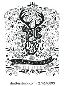 Hand drawn vintage label with a reindeer and lettering. This illustration can be used as a print on T-shirts and bags.
