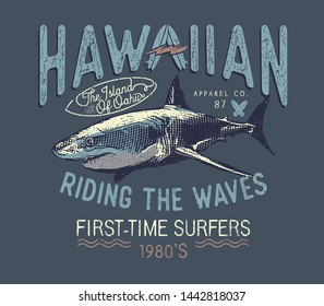 Hand drawn vintage label with a shark and lettering. For apparel t shirt fashion design and or other uses.