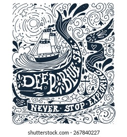 Hand drawn vintage label with a ship, whale and lettering.