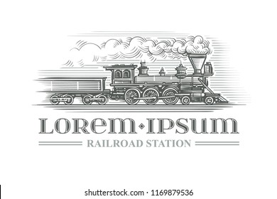 Hand drawn vintage locomotive engraving style. Vector. Text outlined.