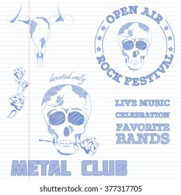 Hand drawn vintage logo collection. Sketch design elements for festivals, open air, cards, posters, prints in the exercise book. Skulls and festival motives. Monochrome shapes. Logo set