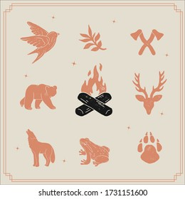 hand drawn vintage logo icon illustrations. nature and wildlife clip art silhouettes. stamp style texture. forest animals clipart, cross axes, antlers, deer and bear. camping and hiking themed design