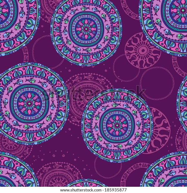 Hand  drawn vintage mandala seamless background. All objects are conveniently grouped on different layers and are easily editable.