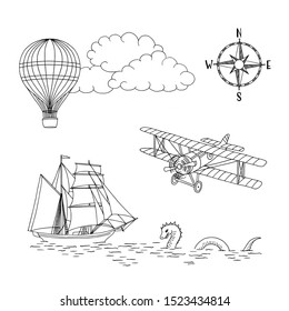 Hand drawn vintage map icons: boat, hot air balloon, airplane, sea monster and compass, black and white ink illustration