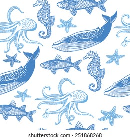 Hand drawn vintage nautical seamless pattern. Fish, sea star, whale, sea horse, octopus. White background