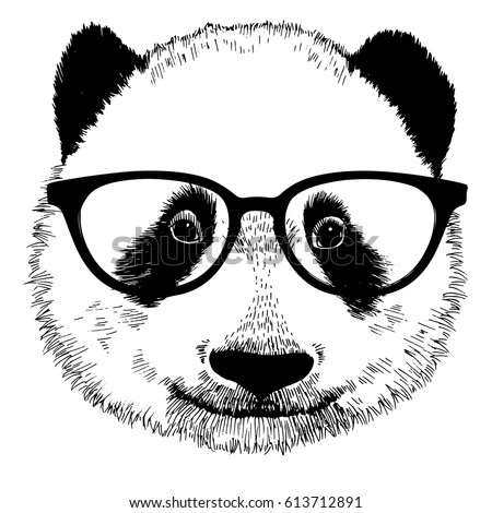96c97b44dd97 Royalty-free stock vector images ID  613712891. Hand drawn vintage panda  with sunglasses. Vector isolated illustration - Vector