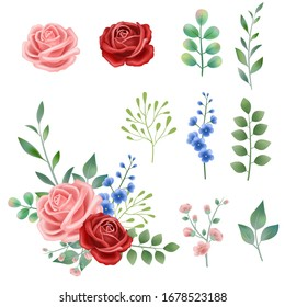 Hand drawn vintage pink, red blue blooming flowers closeup; rose, carnation vector illustration combination, plant leaves and leaves on white background, watercolor style, invitation design