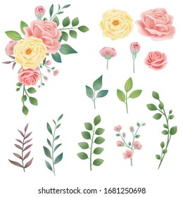 Hand drawn vintage pink yellow rose vector combination illustration, flowers and leaves isolated elements, invitations, retro botanical flowers, wedding style. Decorative