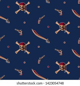 Hand drawn vintage pirate seamless pattern vector illustration. Retro revolver, pistol, sword and skull wearing bandana with crossbones sketch endless background.