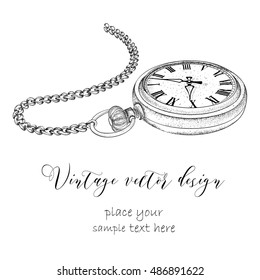 Hand drawn vintage postcard. A pocket watch on a chain and flowers. Vector illustration