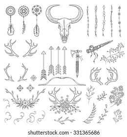 Hand drawn vintage rustic tribal collection. Design elements for wedding, birthday, valentines day cards, posters, prints. American native motives. Floral, herbal monochrome shapes.