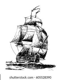 Hand drawn vintage sailing ship. Vector illustration.