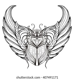 Hand drawn vintage scarab with wings. Insect with doodle pattern. Vector element for tattoo sketch, printing on T-shirts, postcards and your design