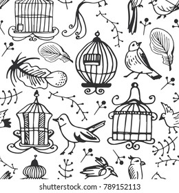 Hand drawn vintage seamless pattern with birds, feathers and cages. Vector background with sketch romantic elements. Doodle collection of icons for card design.