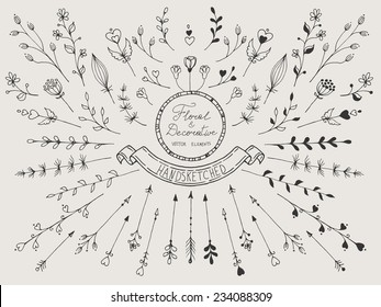 Hand drawn vintage set of floral and decorative elements