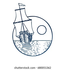 Hand drawn vintage ship in the sea, sunrise or sunset in graphic style. Outdoor activity travel circle symbol, tourism. Engraved vector illustration for poster, tattoo, t-shirt and card design.