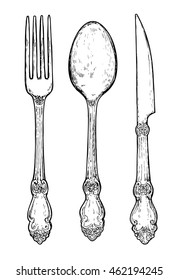 Hand drawn vintage silver cutlery. Fork, knife and spoon. Menu graphics