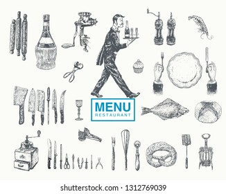 Hand drawn vintage sketch big set of food and drinks for design of the menu. Kitchen tools, utensil and cooking.Vector retro illustration, engraving style. Restaurant waiter serving