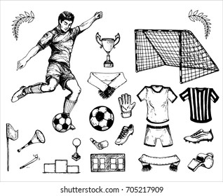 hand drawn vintage sketch of the football theme: footballer, ball, laurels, whistle, arbiter, cup. elements for your  sport design