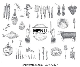 Hand drawn vintage sketch set of food and drinks for design of the menu. Vector large collection hand drawn illustration with kitchen tools. Utensil and cooking. Kitchenware sketch. Retro engraving