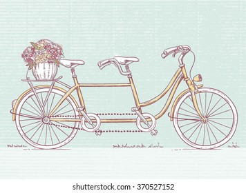 Hand drawn Vintage Tandem bicycle with flowers in rear basket
