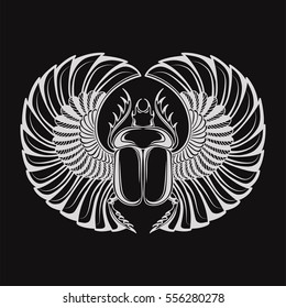 Hand drawn vintage tattoo art. Vector illustration, symbol of pharaoh, Resurrection element of life ancient Egypt, linear style. Scarab beetle, god sun Ra, wings and ankh. Isolated.