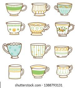 Hand drawn vintage tea cups set