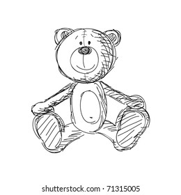 Hand drawn vintage teddy bear