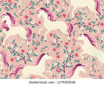 Hand drawn vintage Unicorn in magic forest seamless pattern. Vector illustration Victorian style.