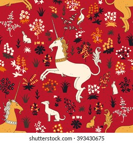 Hand drawn vintage Unicorn in magic forest seamless pattern.  Vector illustration in line art style.