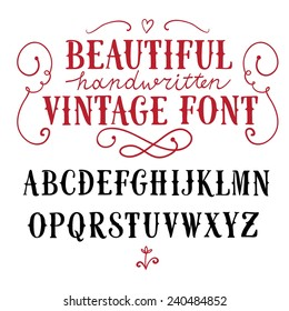 Hand drawn vintage vector ABC letters.Nice font for your design.