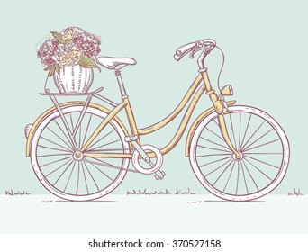 Hand drawn Vintage women's bicycle with flowers in rear basket