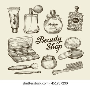 Hand drawn vintage womens cosmetics. Sketch perfume, powder, comb, makeup brush, body cream, lotion. Vector illustration