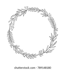 Hand drawn vintage wreath. Vector floral design element. Vintage Floral circle frames made of branches, leaves, twigs.