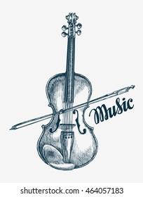 Hand drawn violin vector illustration. Sketch musical instrument
