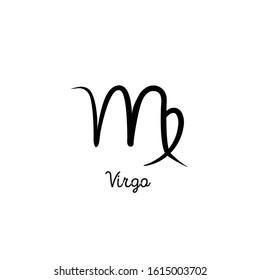 Hand drawn virgo zodiac illustration. Simple line hand virgo zodiac icon. Virgo zodiac vector symbol. Hand drawing virgo zodiac sign
