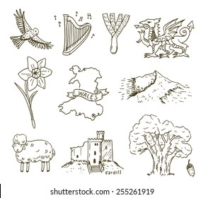 Hand drawn Wales symbols sketch set.