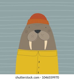 hand drawn walrus. love sea