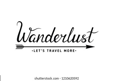 Hand drawn Wanderlust lettering word. Modern brush calligraphy isolated on white background. Vector illustration for travel blog, posters, logo, t-shirt, banner and other design.