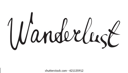 Hand drawn wanderlust word.Calligraphy.Ink and pen nib.Lettering Wanderlust.
