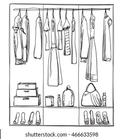 Hand drawn wardrobe sketch. Clothes of the hanger.