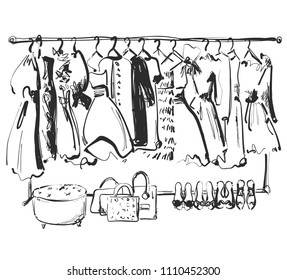 Hand drawn wardrobe sketch. Furniture. Dress, handbag and shoes. clothes