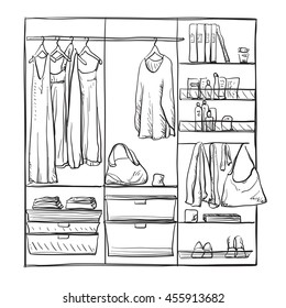 Hand drawn wardrobe sketch. Furniture.