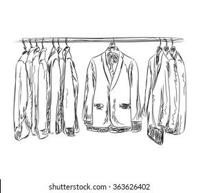 Hand drawn wardrobe sketch. Mans dresscode suit.