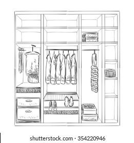 Hand drawn wardrobe sketch. Room interior with clothes.
