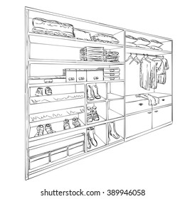 Hand drawn wardrobe sketch. Room interior with clothes and footwear.